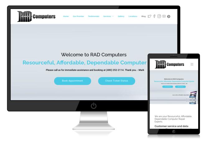 RAD Computers Website Screenshot